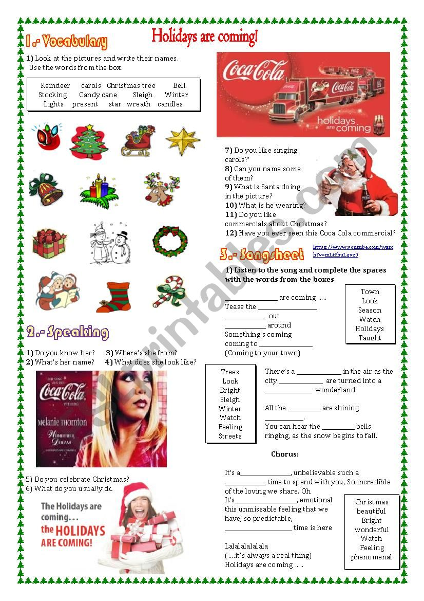 HOLIDAYS ARE COMING worksheet