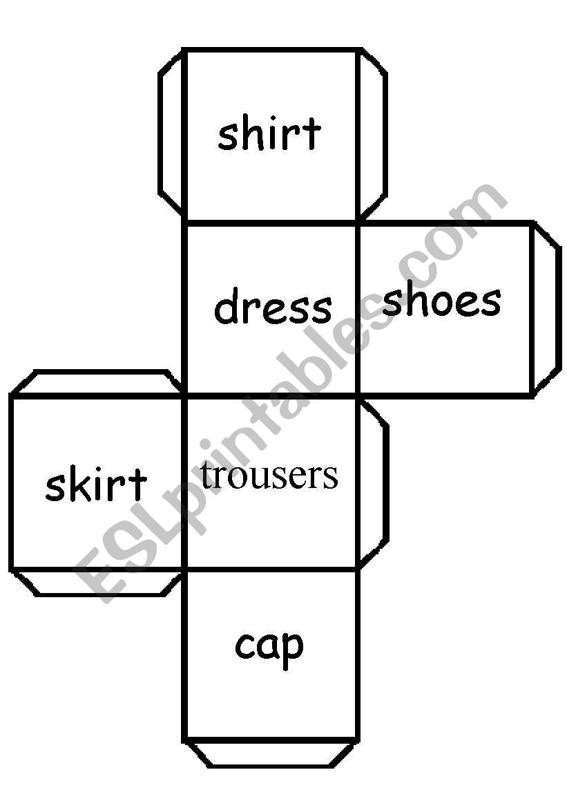 clothes cube worksheet