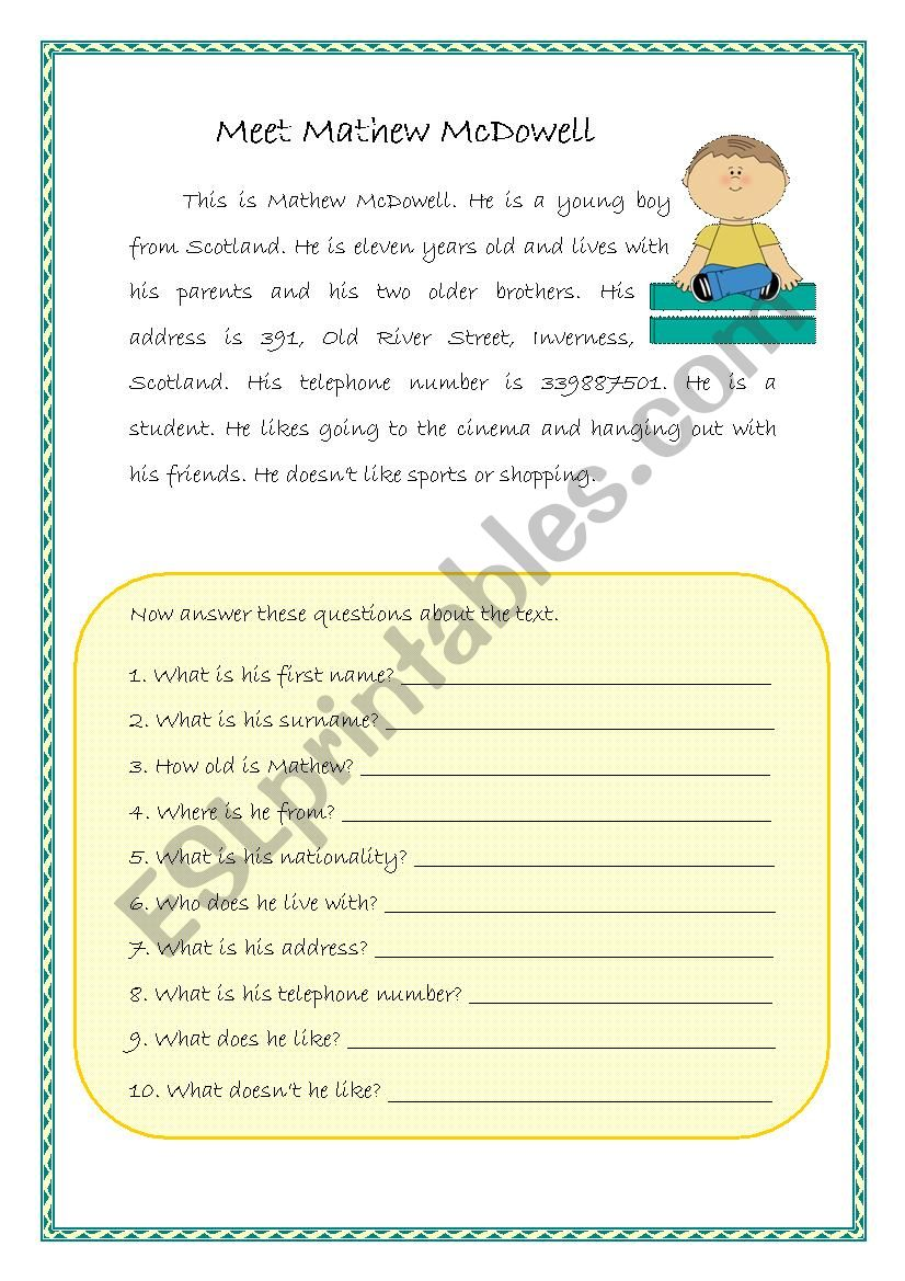 Easy reading-comprehension - ESL worksheet by sarasantos
