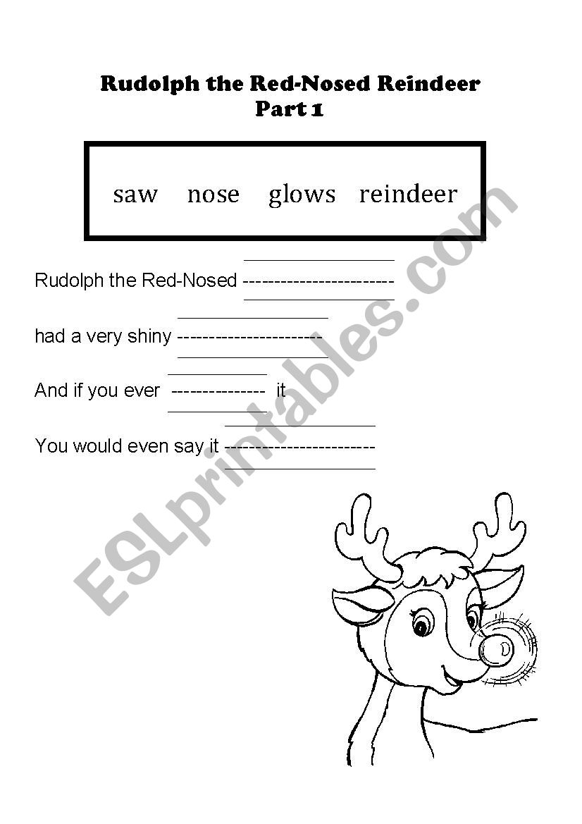 image regarding Lyrics Rudolph the Red Nosed Reindeer Printable identified as English worksheets: Rudolph the Crimson Nosed Reindeer Lyrics