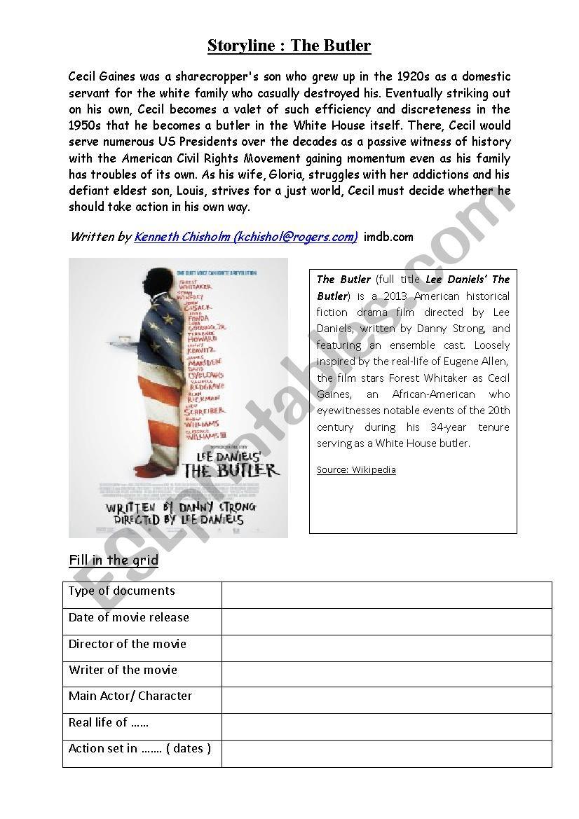 The Butler preparation work - ESL worksheet by emorel14