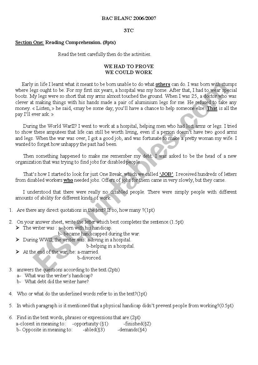 exam third year worksheet