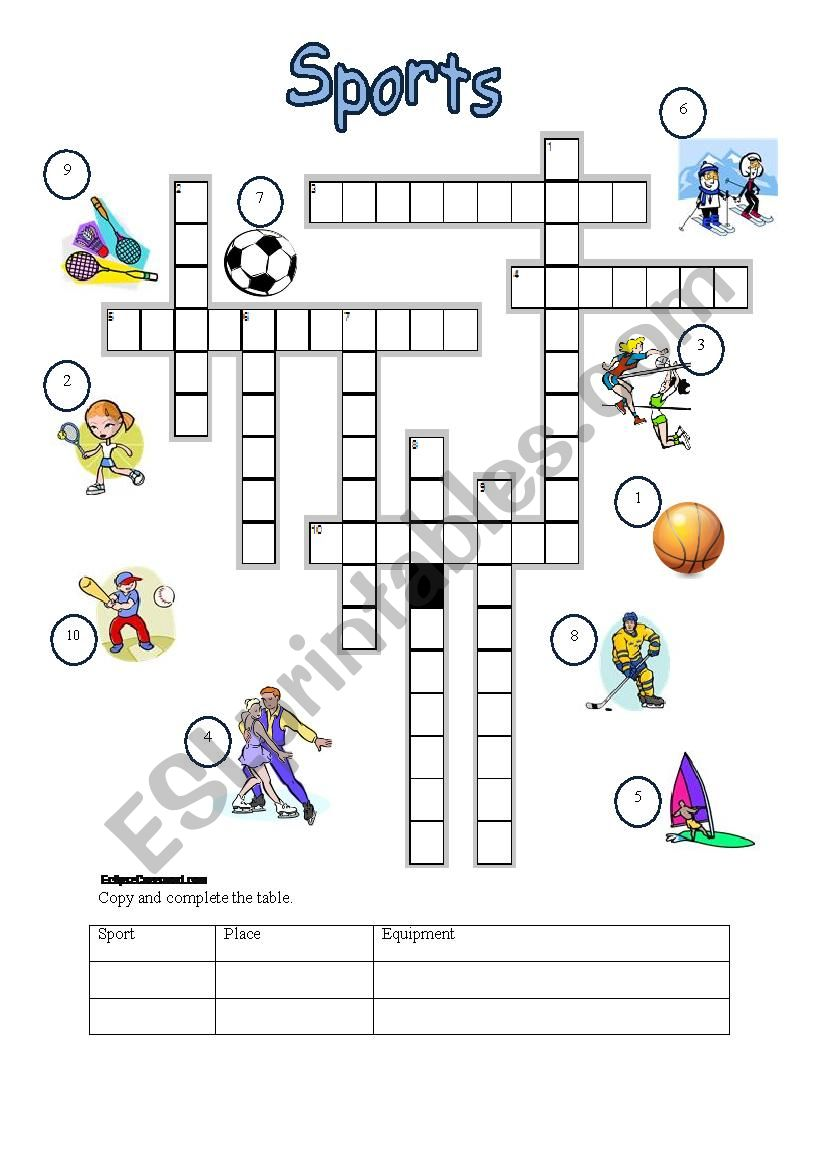 photo relating to Sports Crossword Puzzles Printable referred to as Sports activities crossword - ESL worksheet by means of t.gyorgyi