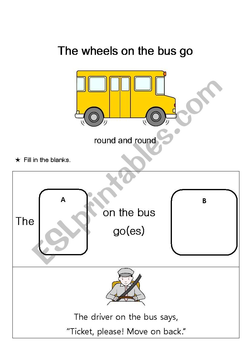 The Wheels on the Bus worksheet