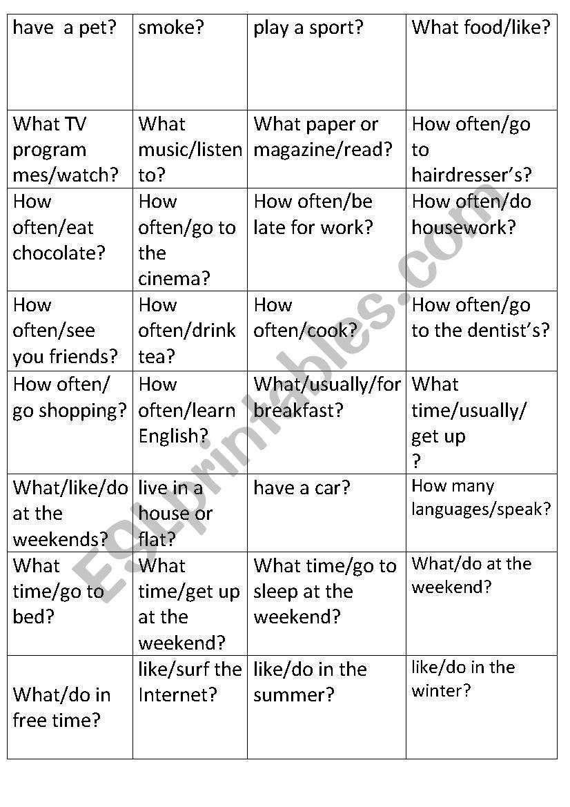 present simple cards worksheet