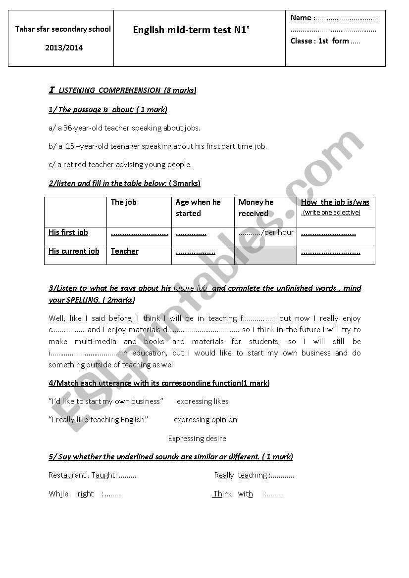 mid-term test 1  / 1st form worksheet