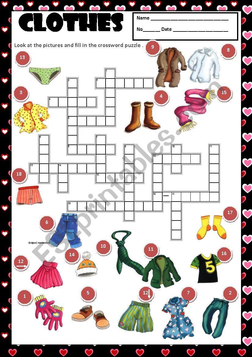CLOTHES - CROSSWORD + KEY worksheet