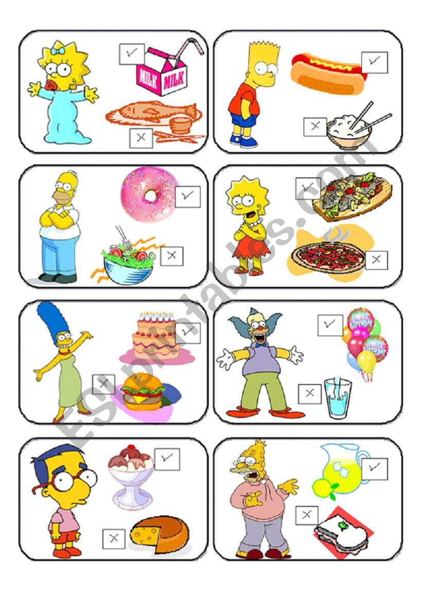 SIMPSONS MEMORY CARDS LIKE /DON´T LIKE 1/2