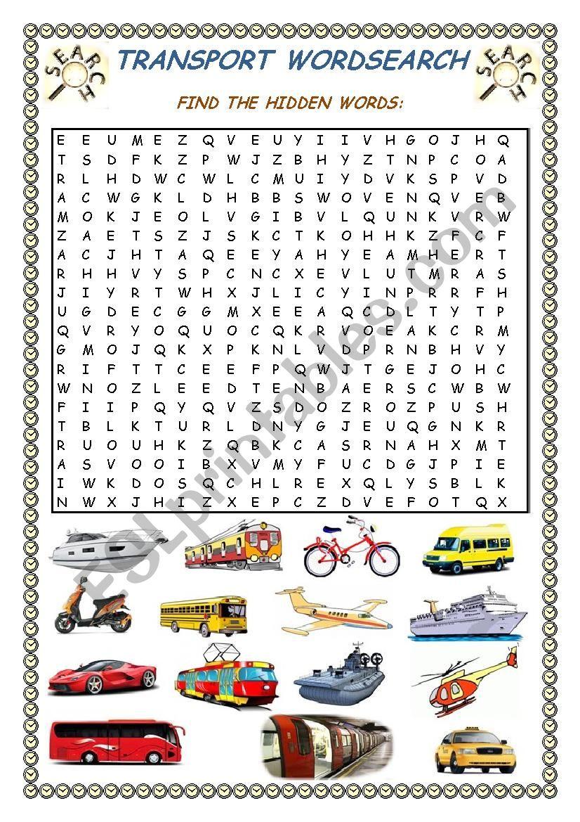 Transport Wordsearch + Key worksheet