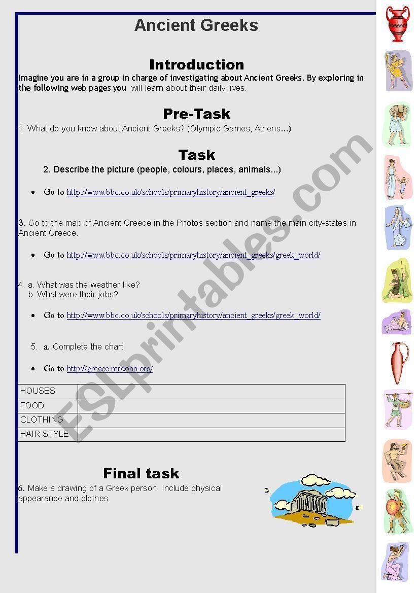 Worksheet Ancient Greece Worksheets ancient greeks esl worksheet by carla710