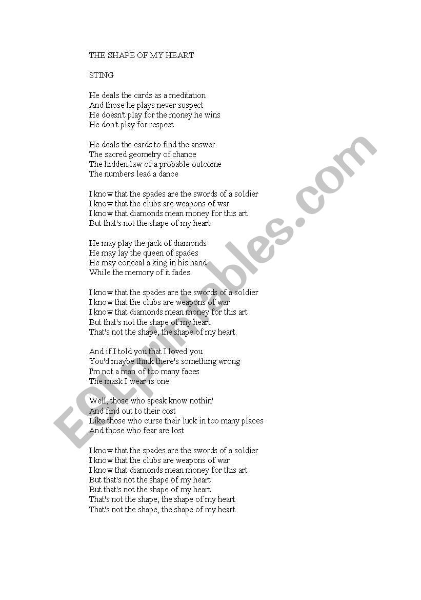 LYRICS SONG - ESL worksheet by kumarielena