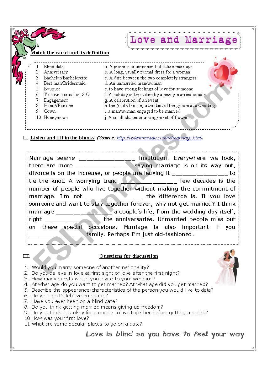 Listening worksheet: Marriage worksheet
