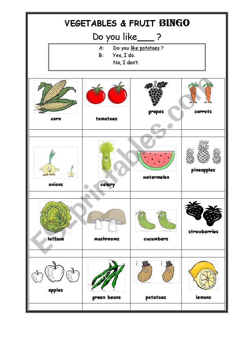 Vegetables & Fruit BINGO- Interview your classmates! Do you like~?