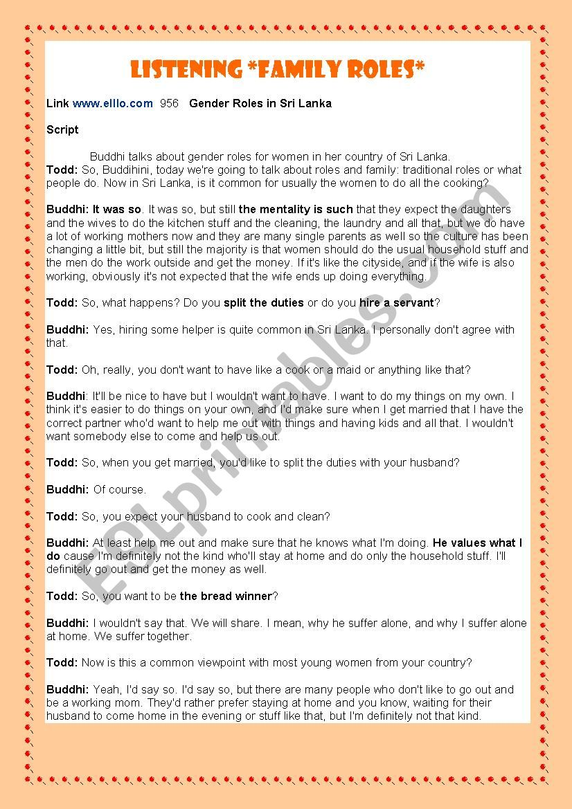 Family Roles Esl Worksheet By Lilia Laz