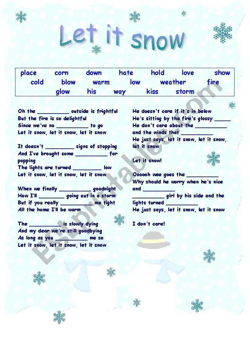 Let it snow worksheet
