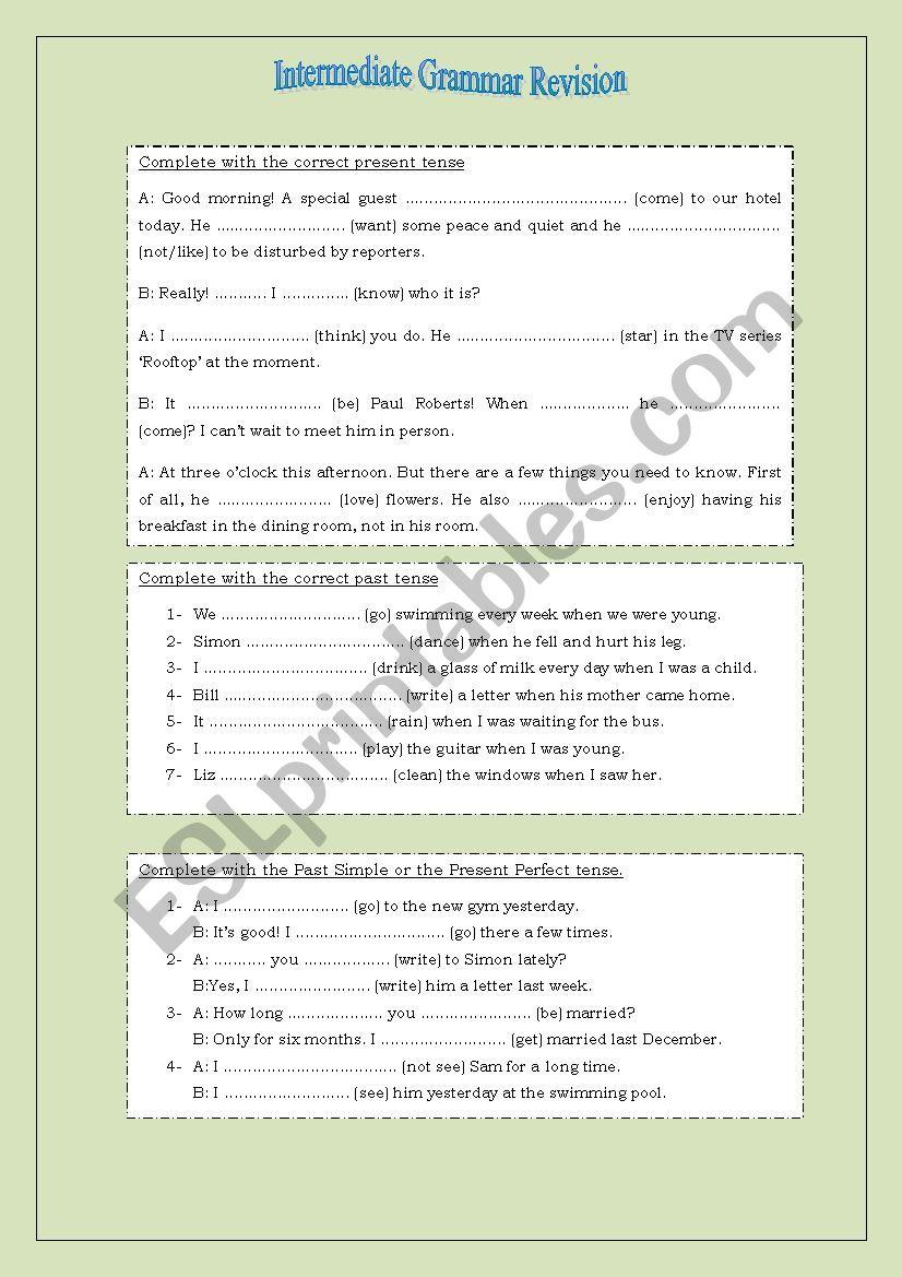 Intermediate Grammar Revision worksheet