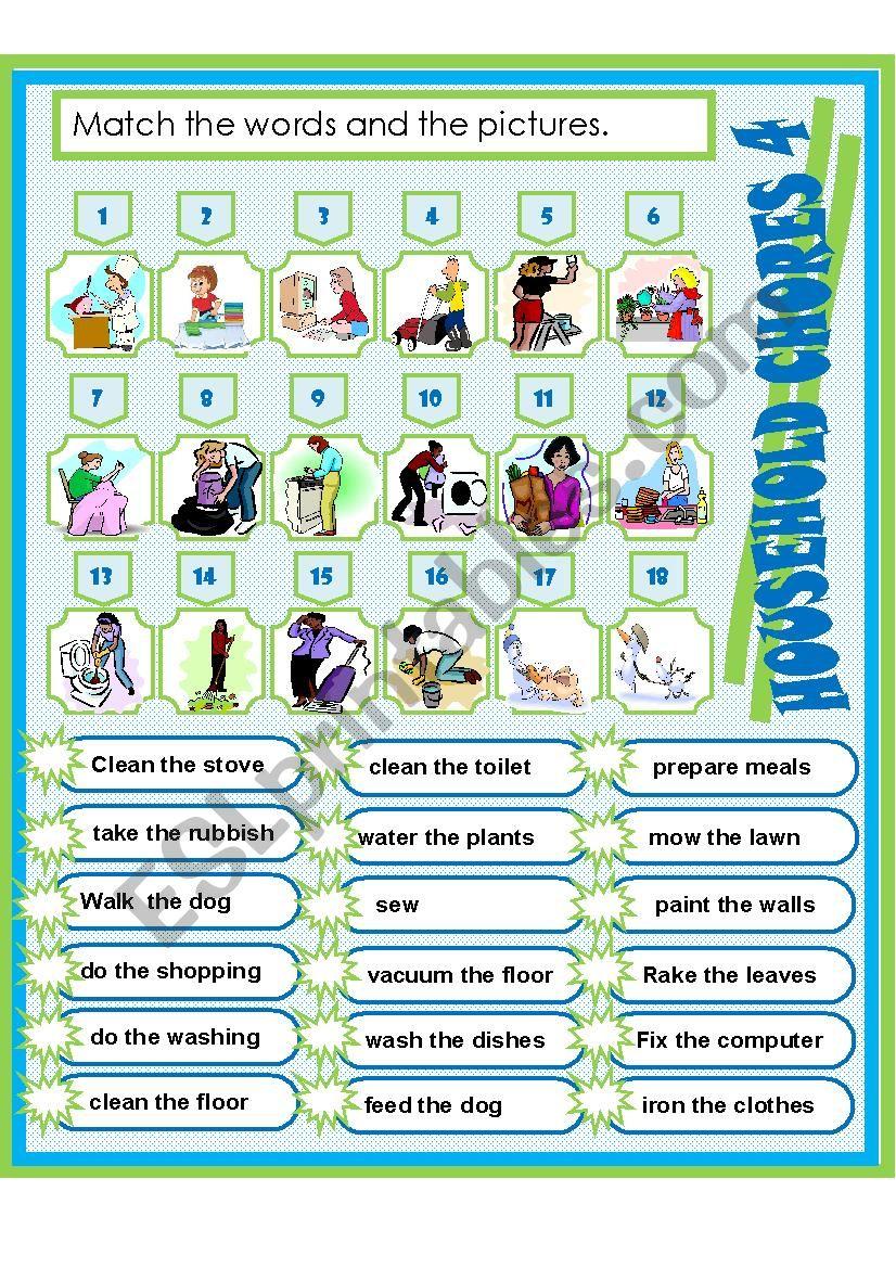 HOUSEHOLD CHORES 4 worksheet