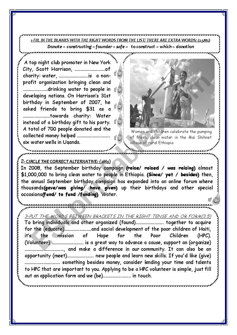 CHARITY AND ORGANISATION worksheet