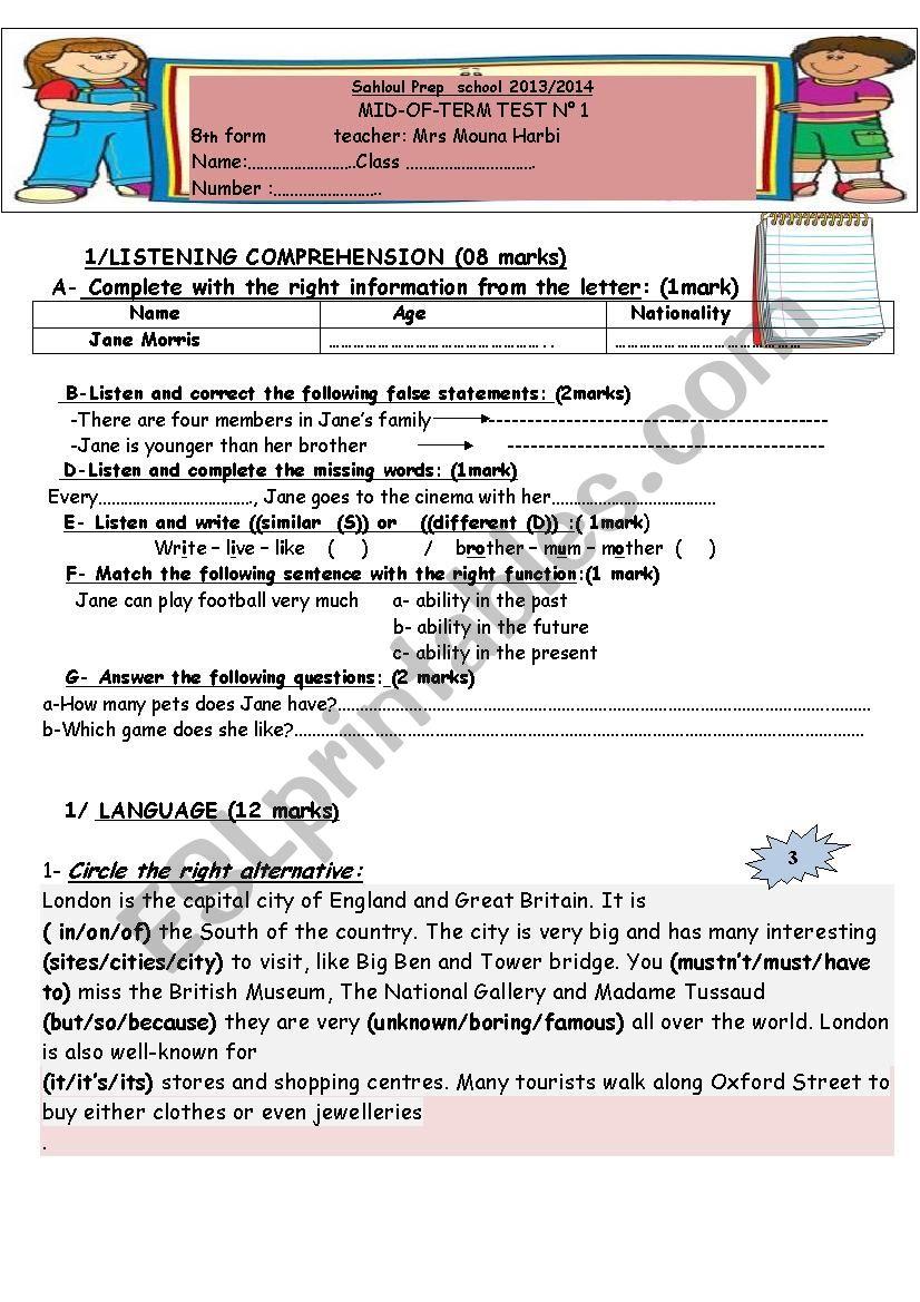 8th form  Mid-Term-Test N°1