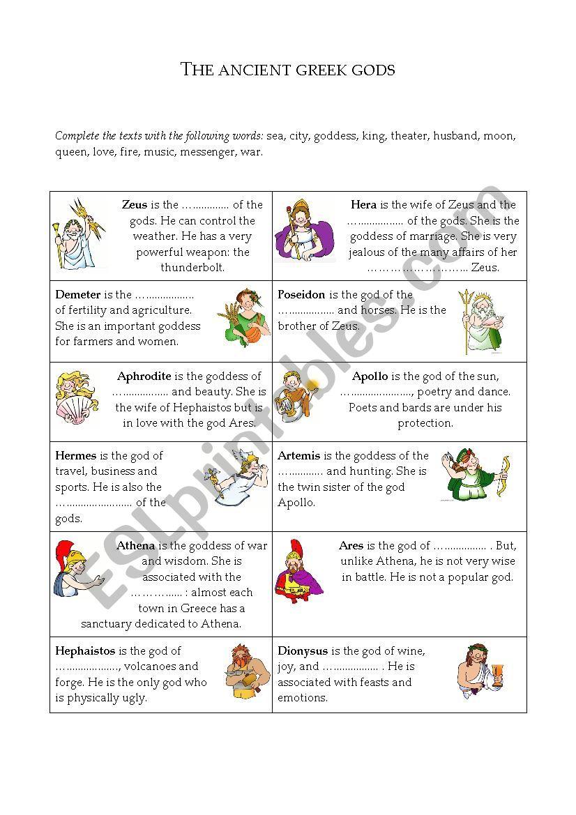 The Ancient Greek Gods - ESL worksheet by cecile.pirat