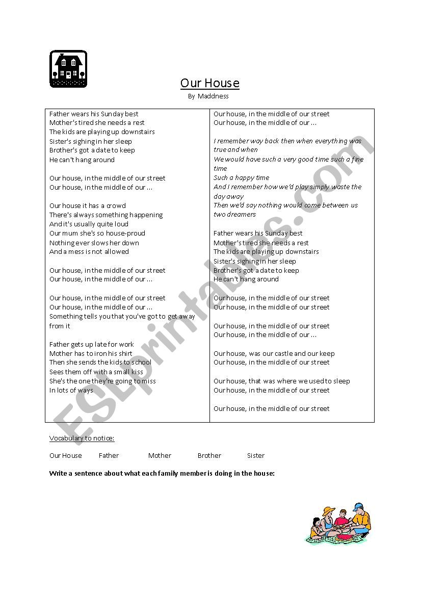Our House worksheet