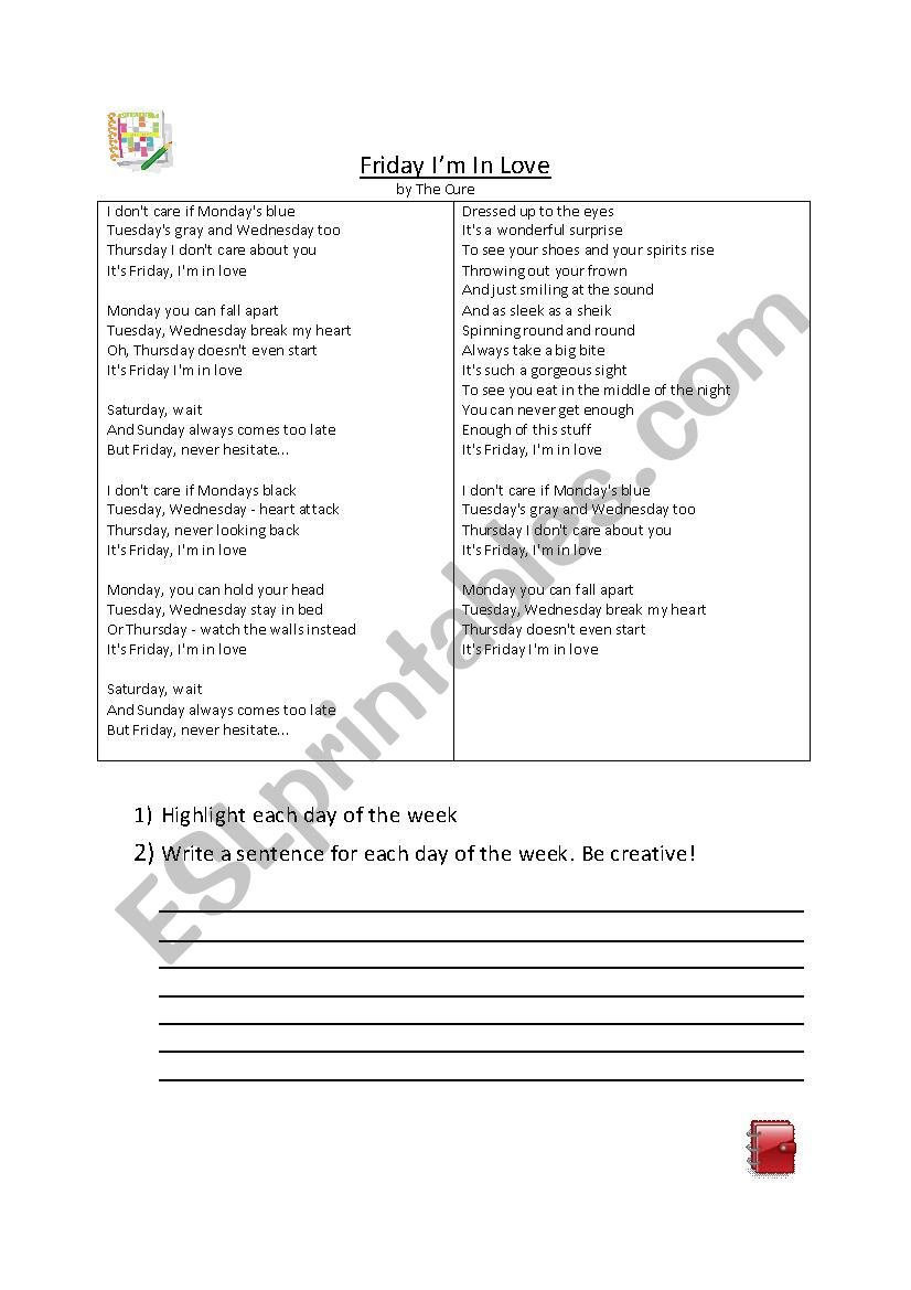 Friday I´m in love- The Cures worksheet