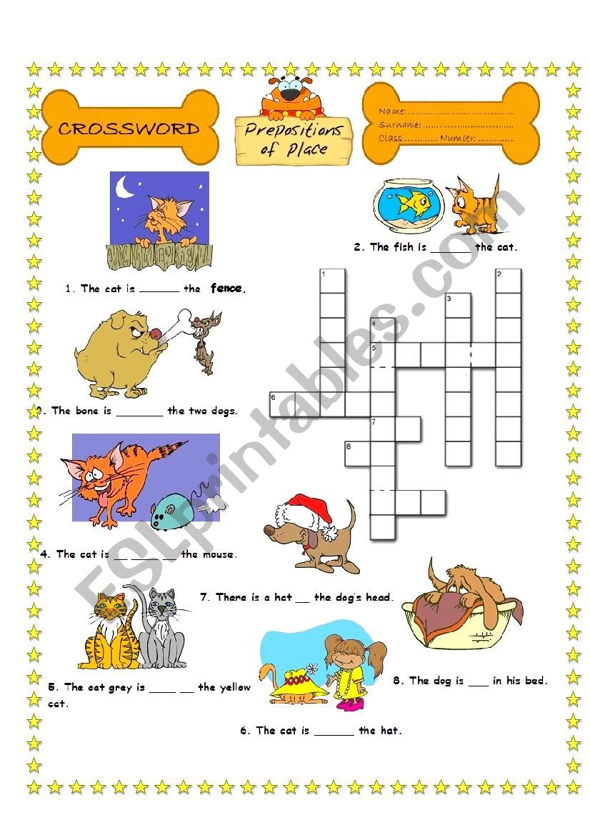 crossword puzzle prepositions of place esl worksheet by saksaksix. Black Bedroom Furniture Sets. Home Design Ideas