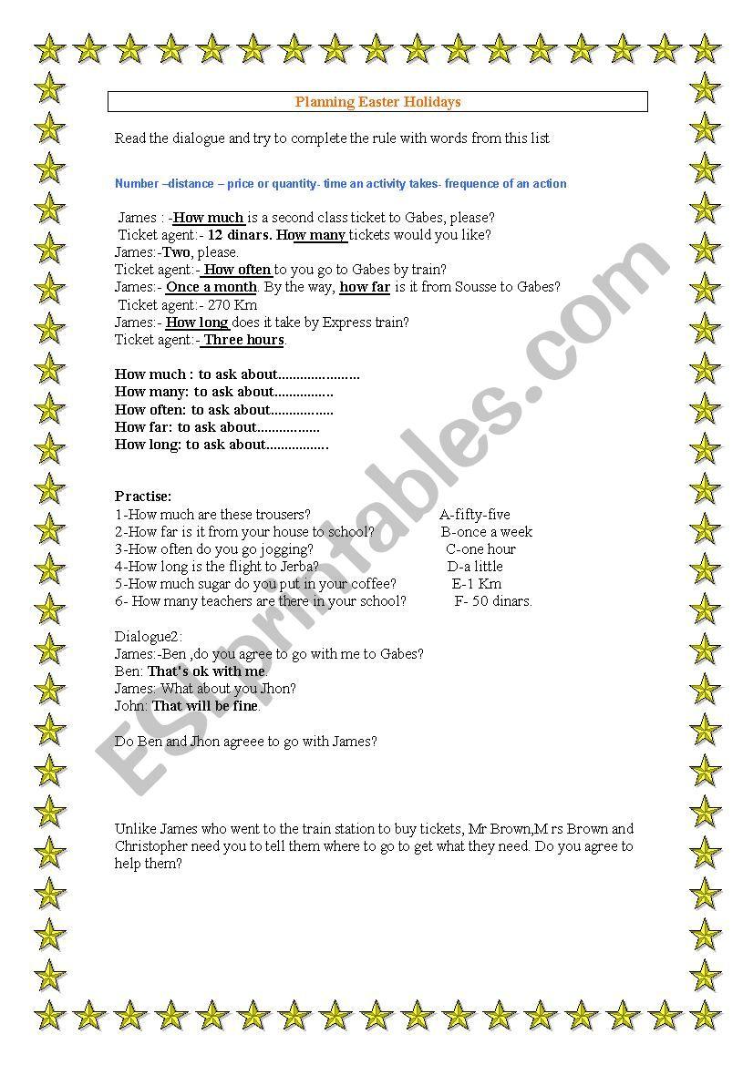 planning easter holidays worksheet