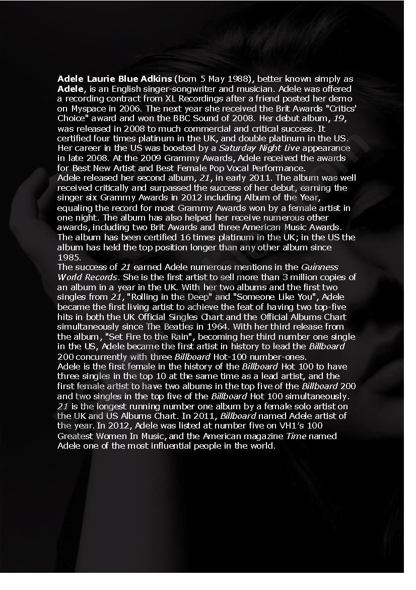 Adele - Her life and songs worksheet