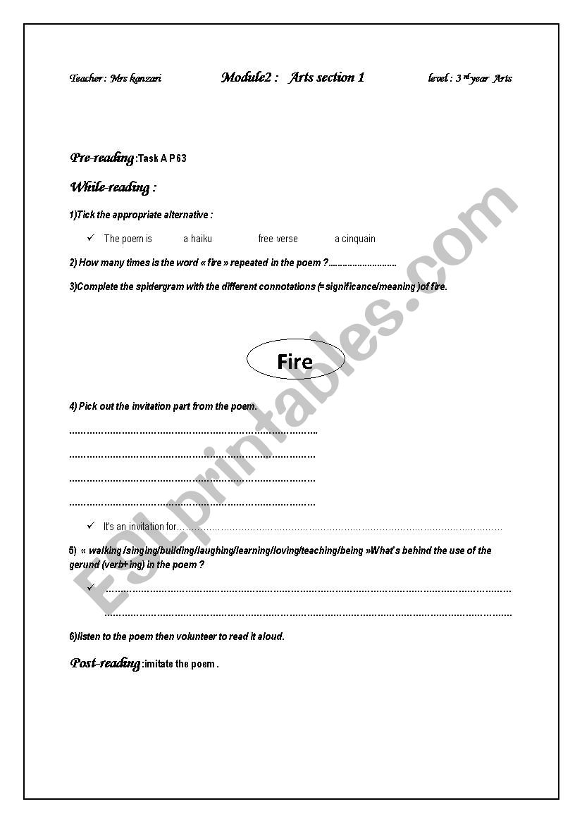 Catch The Fire Sonia Sanchez Esl Worksheet By Om Montaha