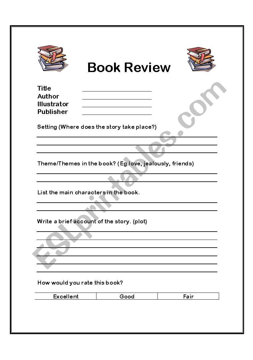 Book Review Form worksheet
