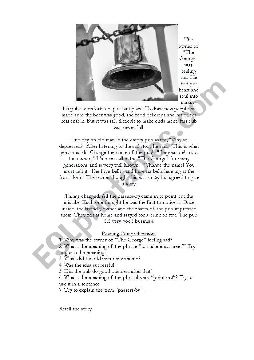 The Five Bells worksheet