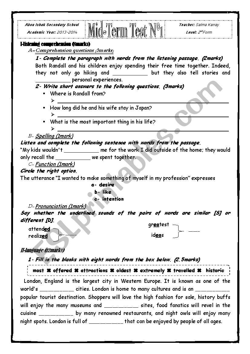 Mid- Term Test worksheet