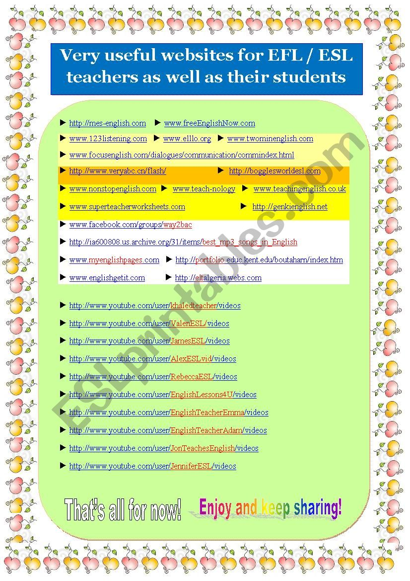 Timesaver part-II : Useful websites for EFL/ ESL teachers as well as ...