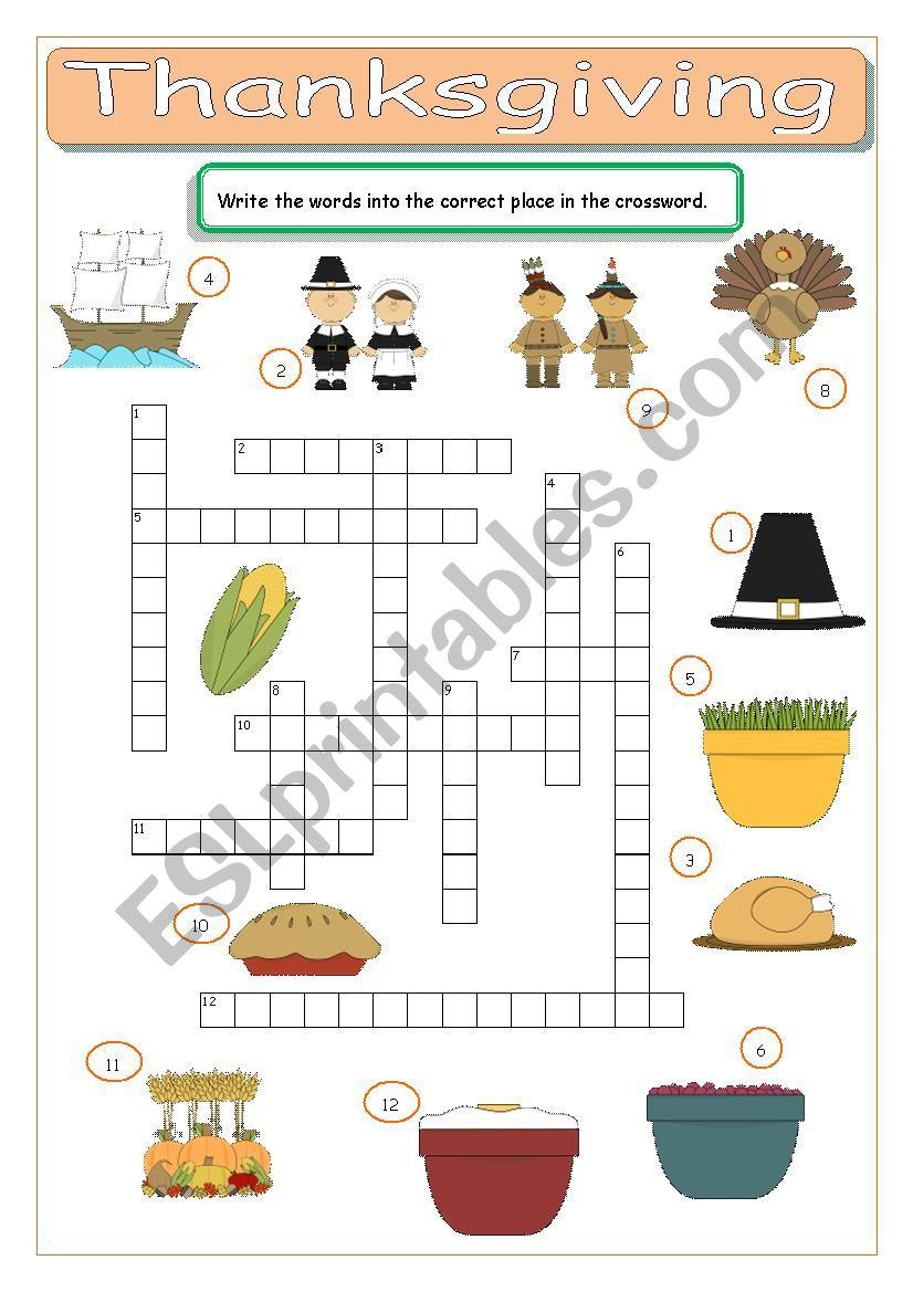 Thanksgiving Crossword - ESL worksheet by tomas97