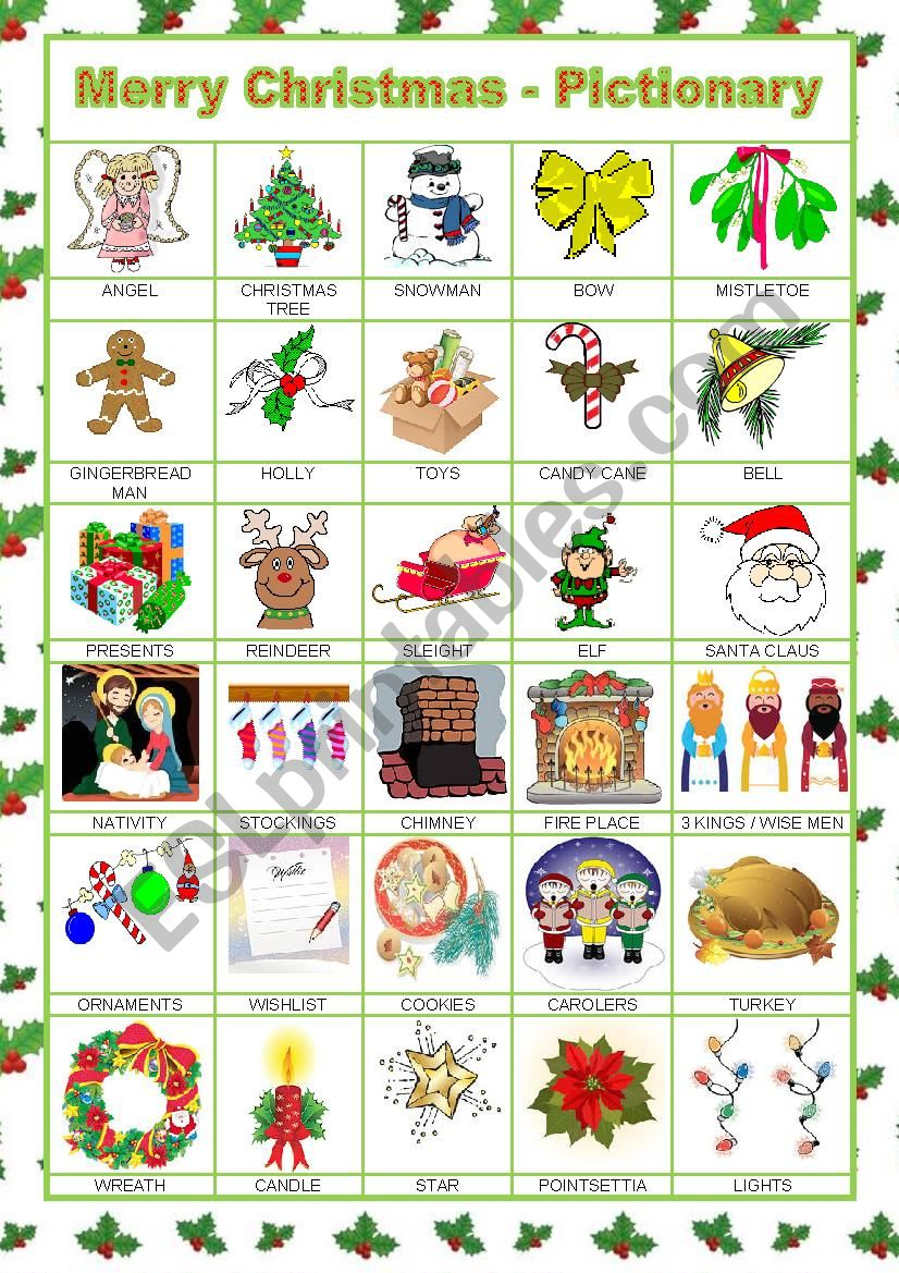 MERRY CHRISTMAS - PICTIONARY worksheet