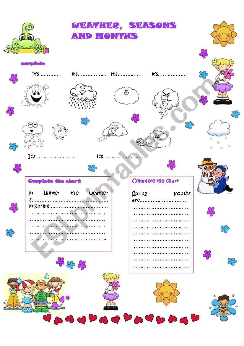 Weather,seasons and months worksheet