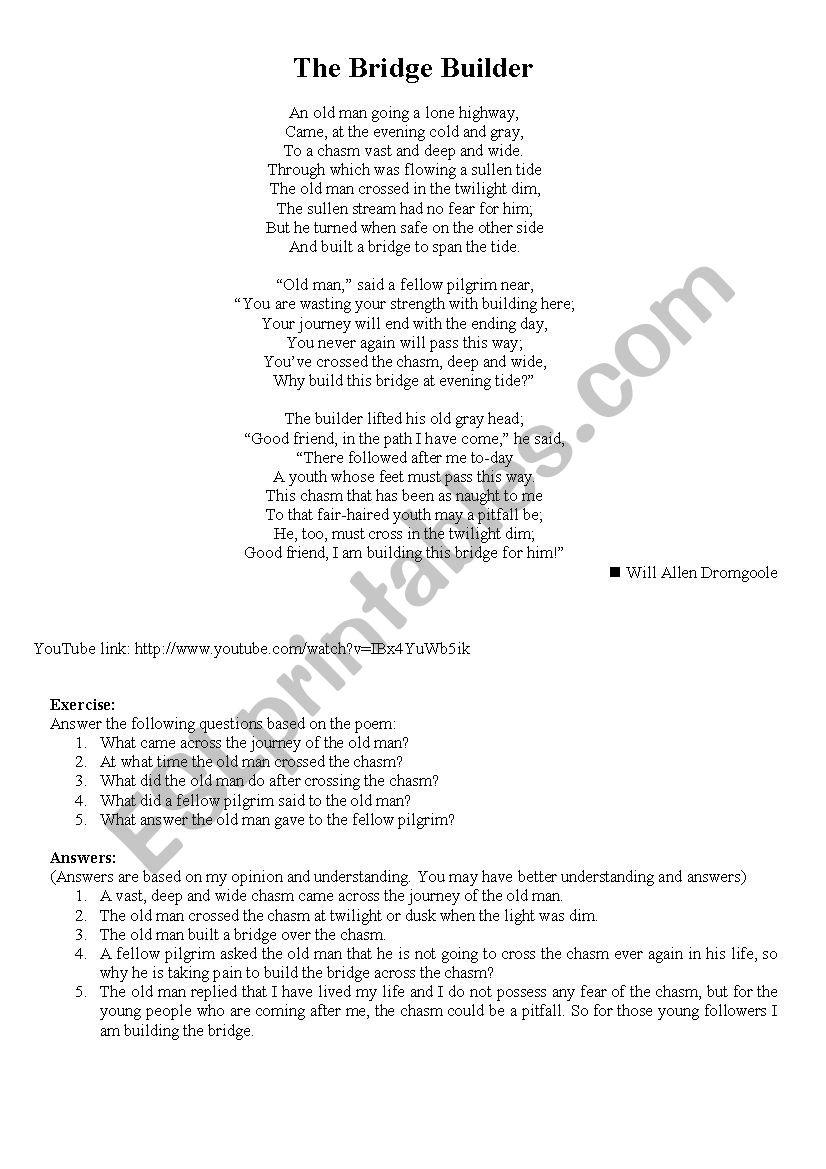 The Bridge Builder Esl Worksheet By Jeegar