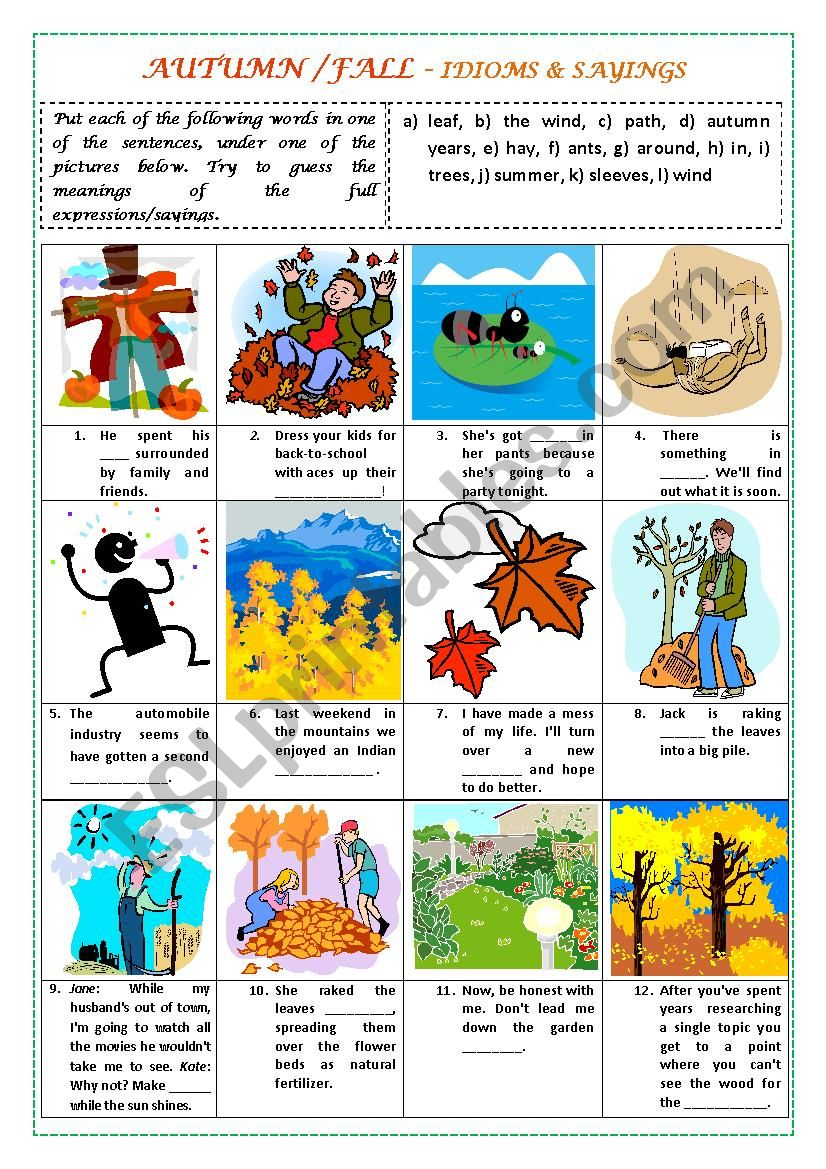 AUTUMN/FALL - IDIOMS & SAYINGS (with key)