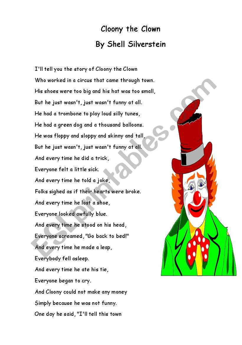 Cloony the clown worksheet
