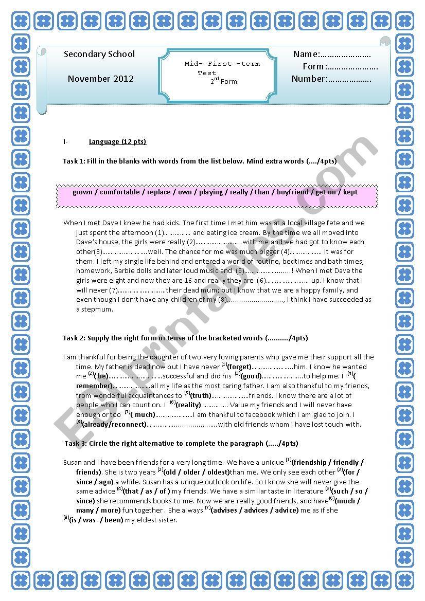 test 1 second form worksheet