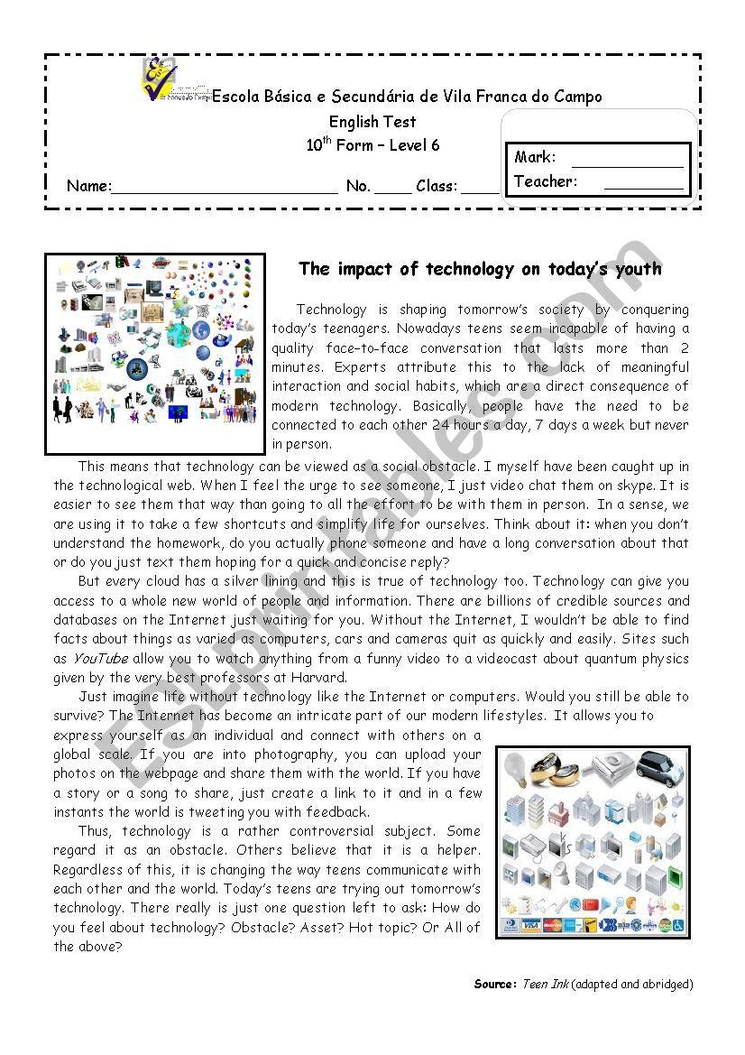 Technology - 10th form test  worksheet