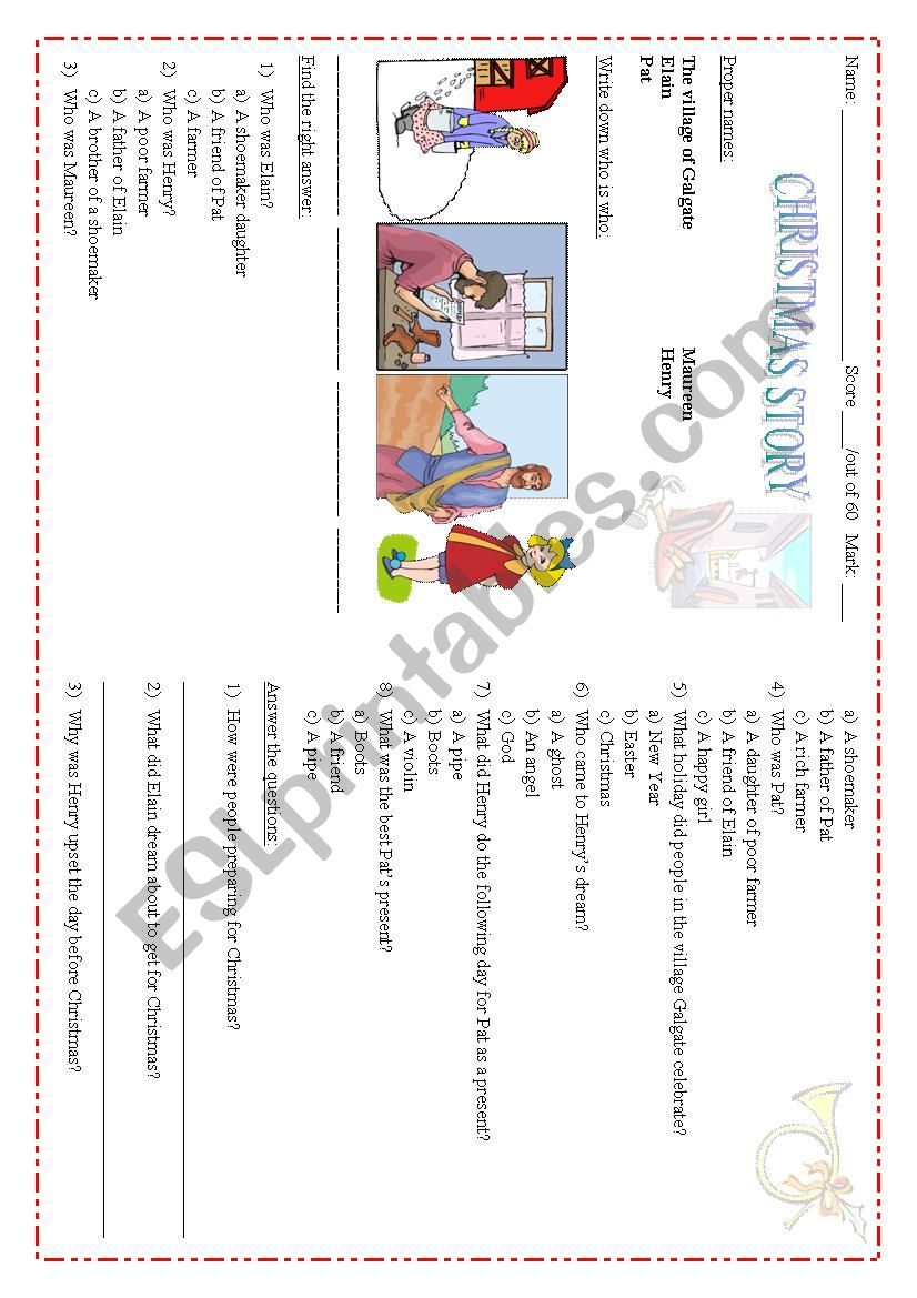 Christmas Story worksheet