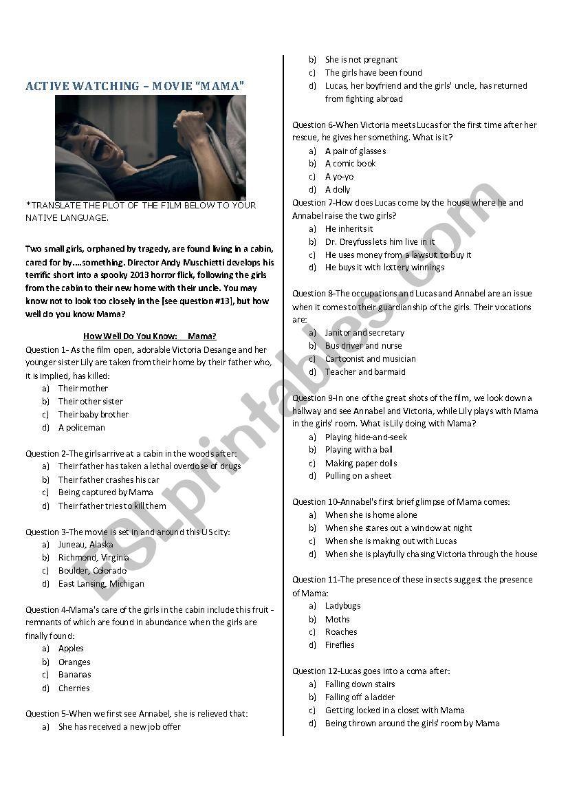 MOVIE - MAMA worksheet