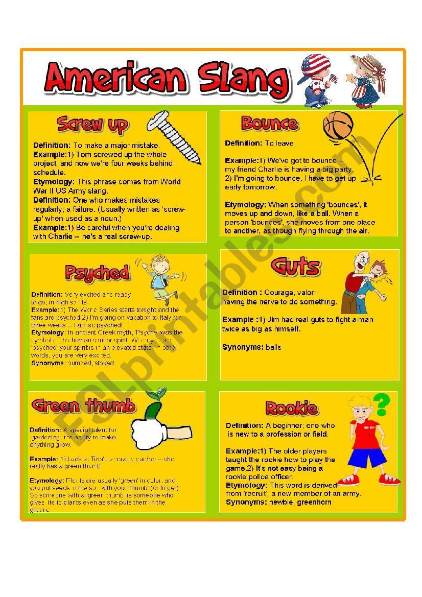 AMERICAN SLANG PART 3 worksheet