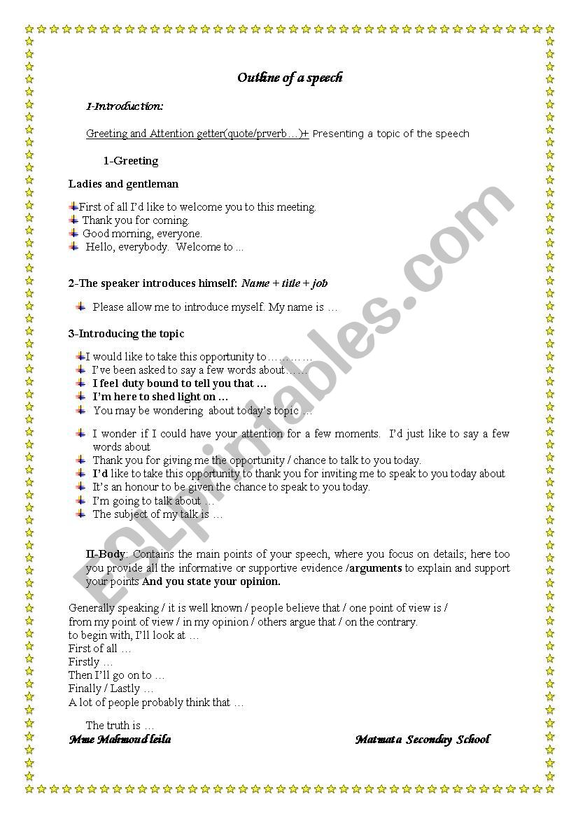 English Worksheets Producing And Delivering A Speech