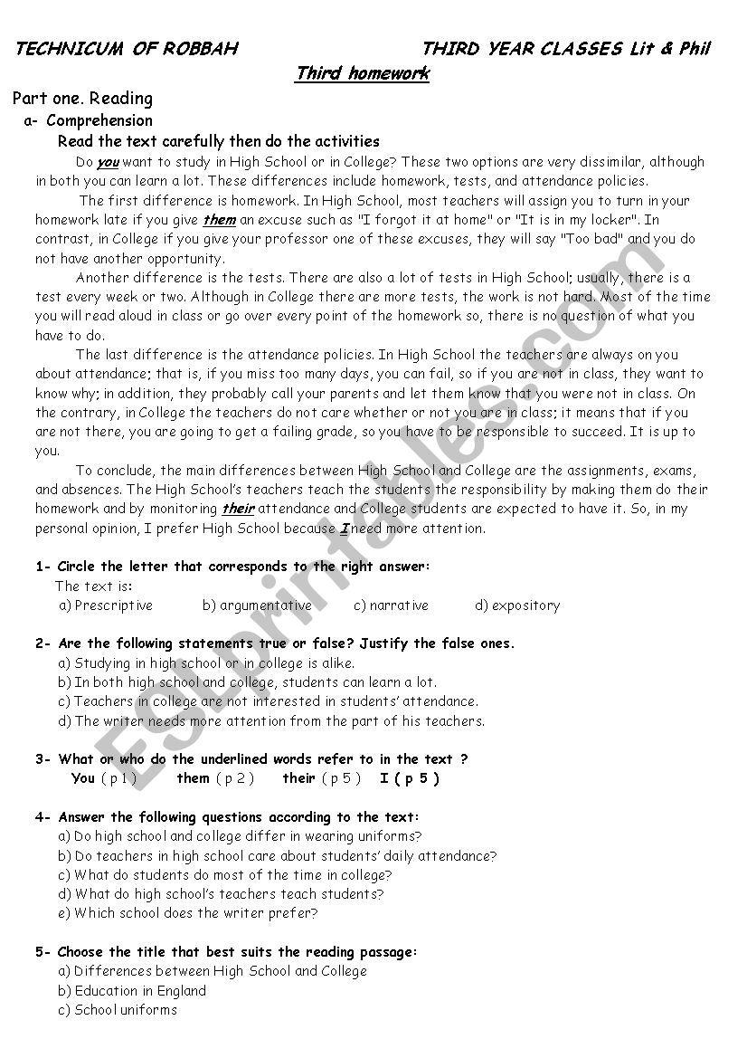 - Reading Comprehension - ESL Worksheet By Ziade802