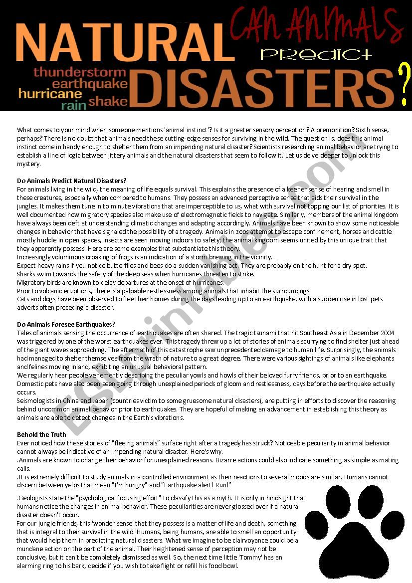 Can animals predict natural disasters? (reading test,4 pages with answer key)