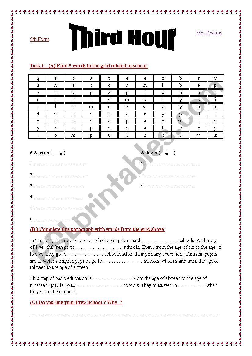 Third hour activities  worksheet
