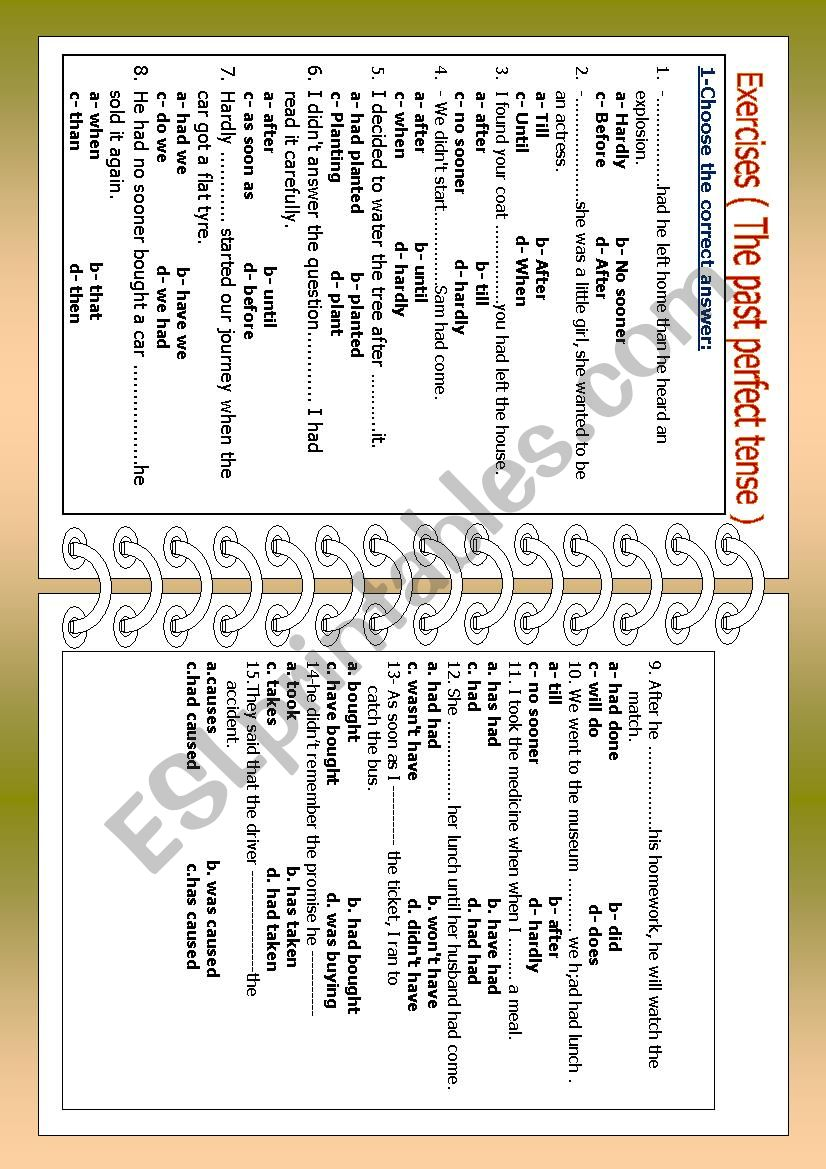 Exercises on the past perfect tense - ESL worksheet by